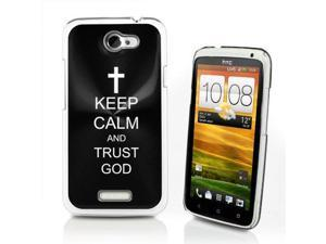 Black HTC One X Aluminum Plated Hard Back Case Cover P438 Keep Calm and Trust God