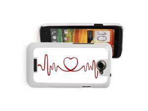 HTC One X White Hard Back Case Cover PW149 Color Red Heart EKG Design