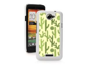HTC One X White Hard Back Case Cover PW366 Color Green Cactus Pattern