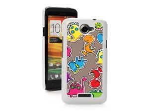 HTC One X White Hard Back Case Cover PW45 Colorful Cartoon Dinosaurs Design