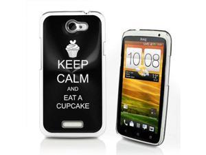 Black HTC One X Aluminum Plated Hard Back Case Cover P95 Keep Calm and Eat A Cupcake
