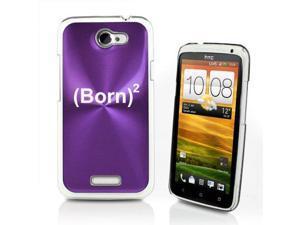 Purple HTC One X Aluminum Plated Hard Back Case Cover P308 Born Again Christian