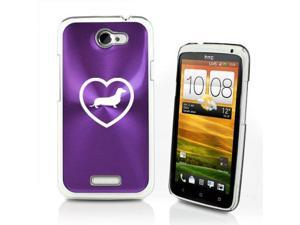 Purple HTC One X Aluminum Plated Hard Back Case Cover P335 Heart Dachshund
