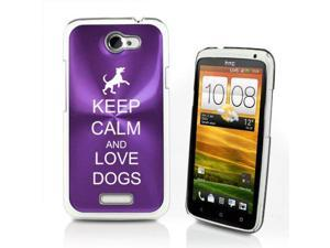 Purple HTC One X Aluminum Plated Hard Back Case Cover P616 Keep Calm and Love Dogs