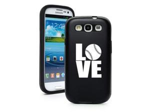 Black Samsung Galaxy S III S3 Aluminum & Silicone Hard Case SK309 Love Baseball Softball