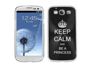 Black Samsung Galaxy S III S3 Aluminum Plated Hard Back Case Cover K1328 Keep Calm and Be a Princess