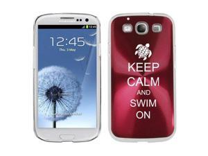 Rose Red Samsung Galaxy S III S3 Aluminum Plated Hard Back Case Cover K710 Keep Calm and Swim On Sea Turtle