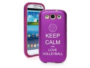 Purple Samsung Galaxy S III S3 Aluminum & Silicone Hard Case SK189 Keep Calm and Love Volleyball