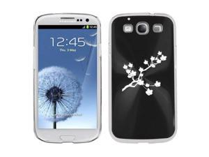 Black Samsung Galaxy S III S3 Aluminum Plated Hard Back Case Cover K253 Cherry Blossom Flowers