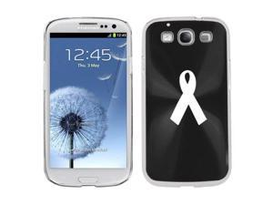 Black Samsung Galaxy S III S3 Aluminum Plated Hard Back Case Cover K208 Awareness Ribbon