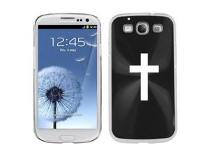 Black Samsung Galaxy S III S3 Aluminum Plated Hard Back Case Cover K271 Cross