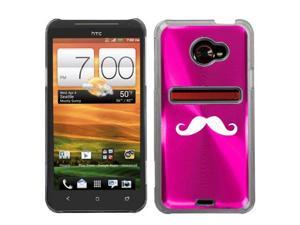 Hot Pink HTC Evo 4G LTE Aluminum Plated Hard Back Case Cover N243 Mustache