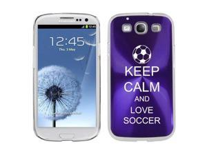 Purple Samsung Galaxy S III S3 Aluminum Plated Hard Back Case Cover K1650 Keep Calm and Love Soccer