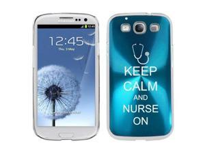 Light Blue Samsung Galaxy S III S3 Aluminum Plated Hard Back Case Cover K1224 Keep Calm and Nurse On Stethoscope