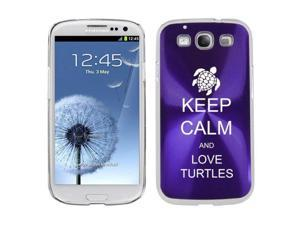 Purple Samsung Galaxy S III S3 Aluminum Plated Hard Back Case Cover K1442 Keep Calm and Love Turtles