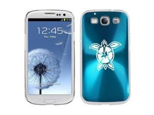 Light Blue Samsung Galaxy S III S3 Aluminum Plated Hard Back Case Cover K1314 Hibiscus Turtle