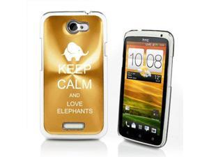 Gold HTC One X Aluminum Plated Hard Back Case Cover P377 Keep Calm and Love Elephants