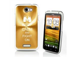 Gold HTC One X Aluminum Plated Hard Back Case Cover P404 Keep Calm and Fight On