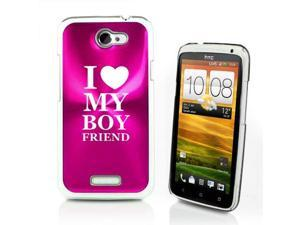Hot Pink HTC One X Aluminum Plated Hard Back Case Cover P216 I Love My Boyfriend