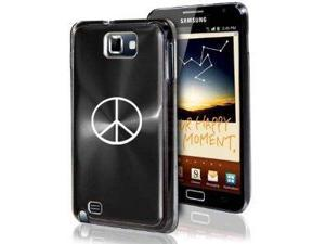 Samsung Galaxy Note i9220 i717 N7000 Black F29 Aluminum Plated Hard Case Peace Sign