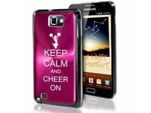 Samsung Galaxy Note i9220 i717 N7000 Hot Pink F392 Aluminum Plated Hard Case Keep Calm and Cheer On