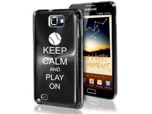 Samsung Galaxy Note i9220 i717 N7000 Black F374 Aluminum Plated Hard Case Keep Calm and Play On Baseball