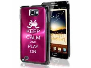 Samsung Galaxy Note i9220 i717 N7000 Hot Pink F434 Aluminum Plated Hard Case Keep Calm and Play On Hockey