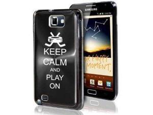Samsung Galaxy Note i9220 i717 N7000 Black F430 Aluminum Plated Hard Case Keep Calm and Play On Hockey
