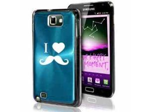 Samsung Galaxy Note i9220 i717 N7000 Light Blue F288 Aluminum Plated Hard Case I Heart Love Mustache