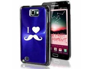 Samsung Galaxy Note i9220 i717 N7000 Blue F284 Aluminum Plated Hard Case I Heart Love Mustache