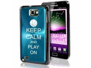 Samsung Galaxy Note i9220 i717 N7000 Light Blue F386 Aluminum Plated Hard Case Keep Calm and Play On Basketball