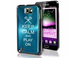Samsung Galaxy Note i9220 i717 N7000 Light Blue F442 Aluminum Plated Hard Case Keep Calm and Play On Lacrosse