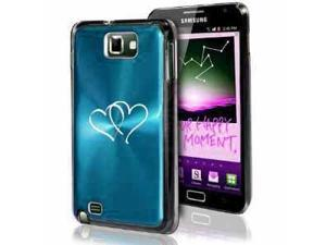 Samsung Galaxy Note i9220 i717 N7000 Light Blue F49 Aluminum Plated Hard Case Hearts