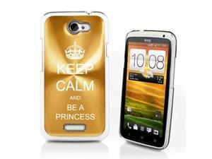 Yellow Gold HTC One X Aluminum Plated Hard Back Case Cover P567 Keep Calm and Be A Princess