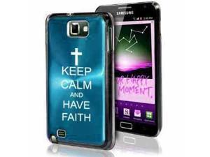 Samsung Galaxy Note i9220 i717 N7000 Light Blue F584 Aluminum Plated Hard Case Keep Calm and Have Faith Cross