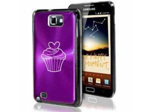 Samsung Galaxy Note i9220 i717 N7000 Purple F669 Aluminum Plated Hard Case Valentine Heart Cupcake