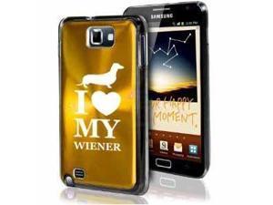 Samsung Galaxy Note i9220 i717 N7000 Gold F574 Aluminum Plated Hard Case I Love My Wiener Dachshund Dog