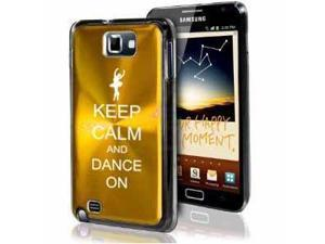 Samsung Galaxy Note i9220 i717 N7000 Yellow Gold F348 Aluminum Plated Hard Case Keep Calm and Dance On
