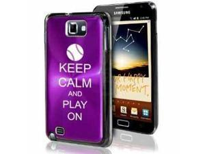 Samsung Galaxy Note i9220 i717 N7000 Purple F380 Aluminum Plated Hard Case Keep Calm and Play On Baseball