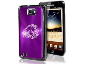 Samsung Galaxy Note i9220 i717 N7000 Purple F40 Aluminum Plated Hard Case Peace Sign with Flowers