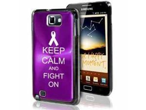 Samsung Galaxy Note i9220 i717 N7000 Purple F408 Aluminum Plated Hard Case Keep Calm and Fight On Awareness Ribbon