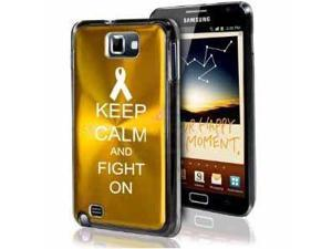 Samsung Galaxy Note i9220 i717 N7000 Yellow Gold F404 Aluminum Plated Hard Case Keep Calm and Fight On Awareness Ribbon