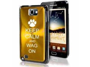 Samsung Galaxy Note i9220 i717 N7000 Yellow Gold F488 Aluminum Plated Hard Case Keep Calm and Wag On Paw Print