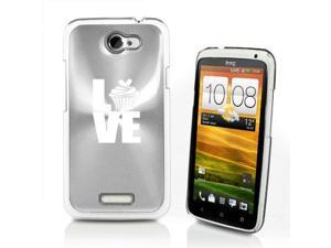 Silver HTC One X Aluminum Plated Hard Back Case Cover P211 Love Cupcake
