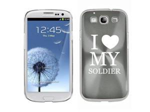 Silver Samsung Galaxy S III S3 Aluminum Plated Hard Back Case Cover K910 I Love My Soldier