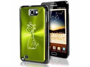 Samsung Galaxy Note i9220 i717 N7000 Green F524 Aluminum Plated Hard Case Cute Giraffe Cartoon