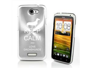 Silver HTC One X Aluminum Plated Hard Back Case Cover P609 Keep Calm and Love Dachshunds