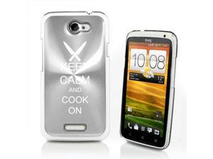 Silver HTC One X Aluminum Plated Hard Back Case Cover P67 Keep Calm and Cook On