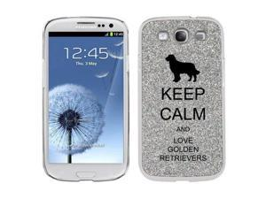Silver Samsung Galaxy S3 SIII i9300 Glitter Bling Hard Case Cover KG319 Keep Calm and Love Golden Retrievers