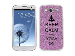 Purple Samsung Galaxy S3 SIII i9300 Glitter Bling Hard Case Cover KG533 Keep Calm and Yoga On